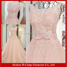 EL091 Sleeveless light pink lace appliqued tulle ladies long evening party wear gown dresses