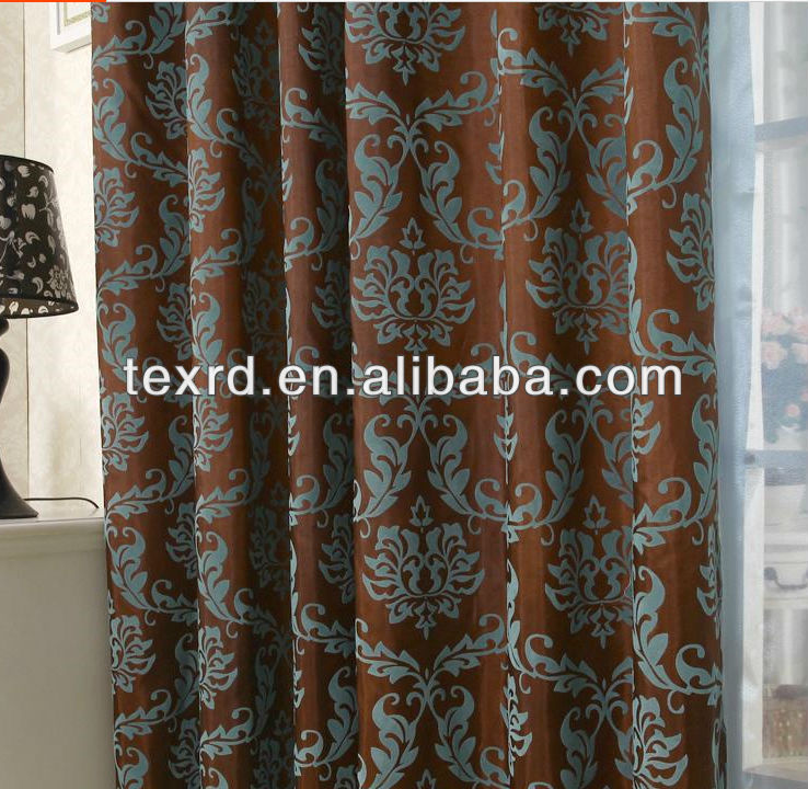 2014 Hot Style High Quality Flock Decorative Curtain