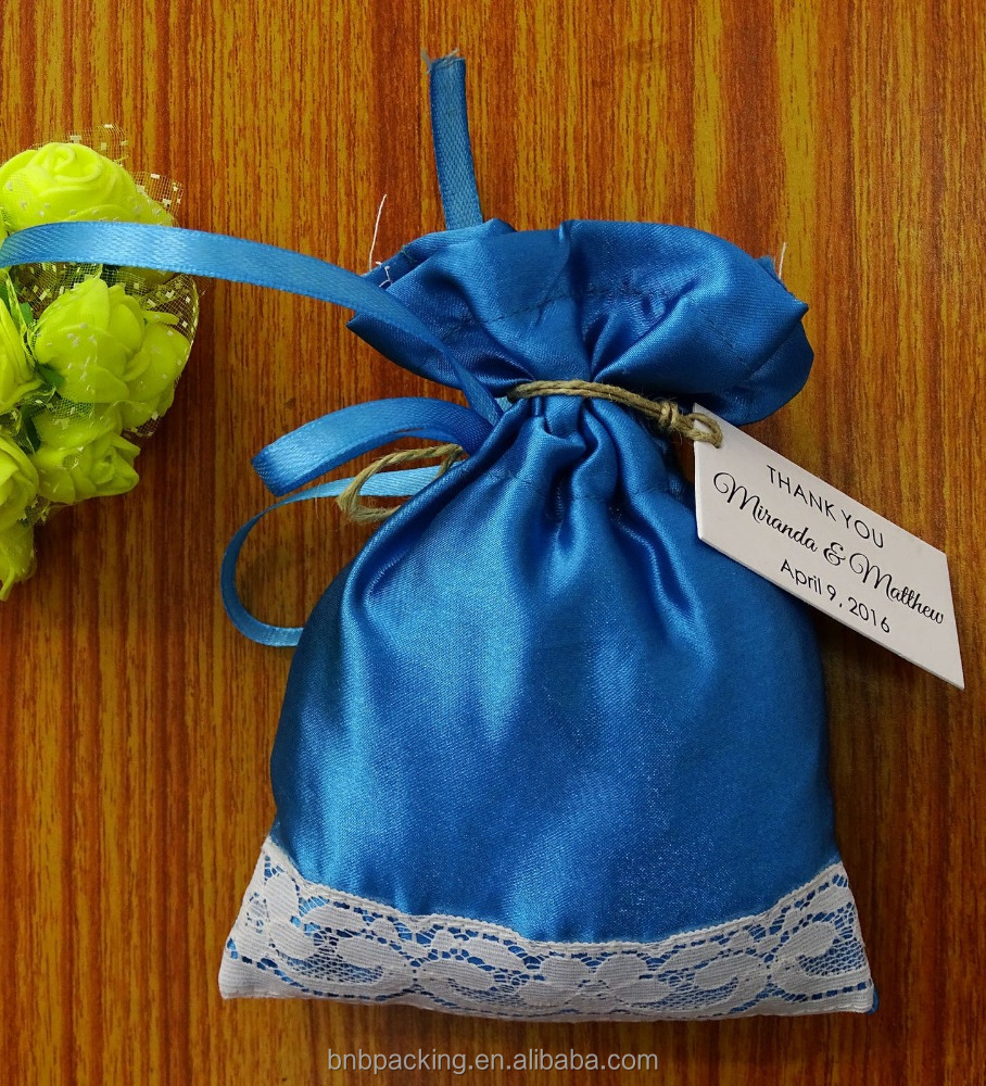 Satin and Net Gift Pouch Wedding Party Favor Drawstring Jewellery Bag