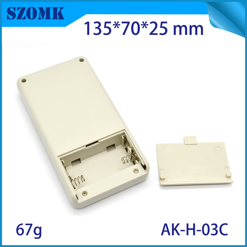 plastic hot selling handheld enclosure with battery holder custom plastic casing form szomk