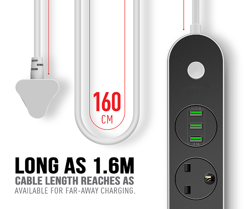 Triple UK type outlets & USB ports smart power strip