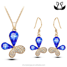 Fashionable Butterfly Shaped Pendant Earring With Dark Blue Crystal Flower Jewelry Set