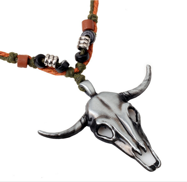 tribe fashion vintage alloy skull cow head indian necklaces