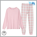 wholesale OEM grid pants casual 100 cotton pink sleepwear