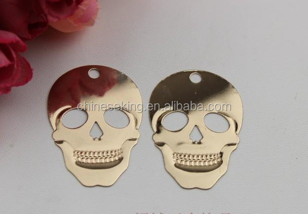 Metal skull pendant tag gold shoes&bag charms with top quality