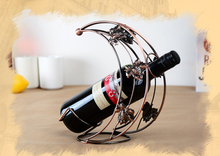 Moon shape antique bronze wrought iron metal wine bottle holder/wine rack