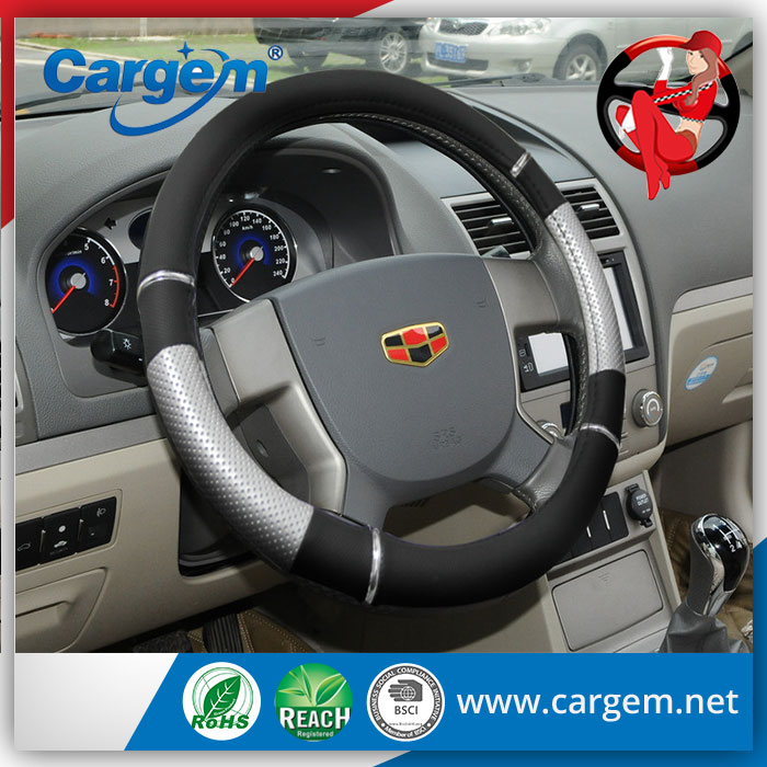 Carbon fiber/checker plate/black white auto steering wheel cover/ plastic car steering wheel cover