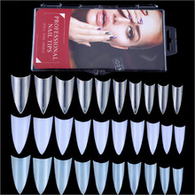 Nail Tips Factory Supply 100 Pcs Pop Fan Design Fingernail Tips Beauty Sharp Stiletto Fake Nail Tips