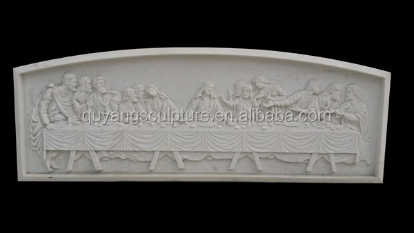 Last supper Jesus And 12 Disciples White Marble Relief