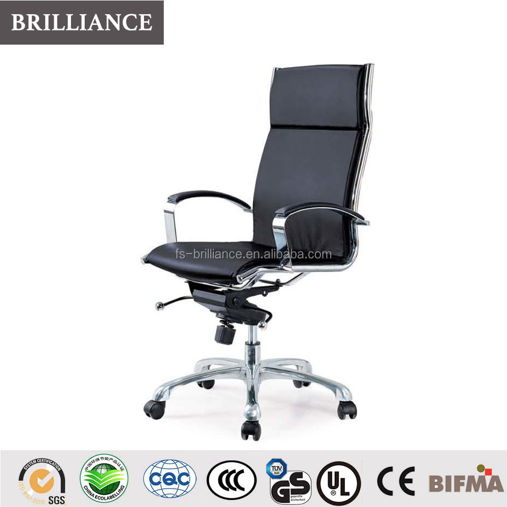 High back full leather aluminum alloy base swivel executive chair adjustable height office chair