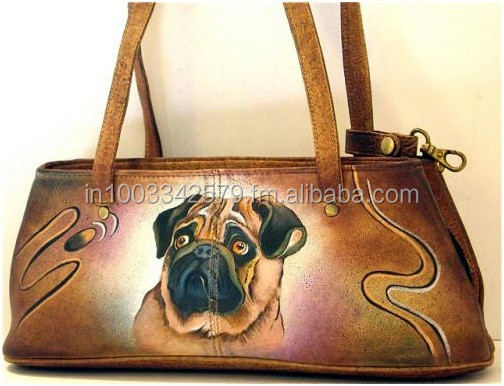 Pug Hand Painted Fine Art Multi Compartment Handbag