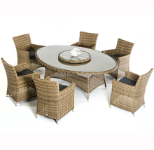 088 classic outdoor dining furniture ratan 6 seater wicker table and chair set