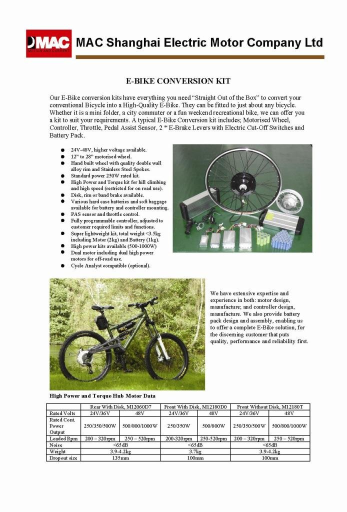 Mac Electric Bicycle KIT, Electric Bike KIT, Motor KIT
