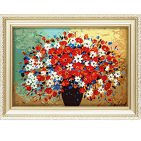 2016 diy oil paintings by numbers wholesale flower designs fabric painting for home decoration