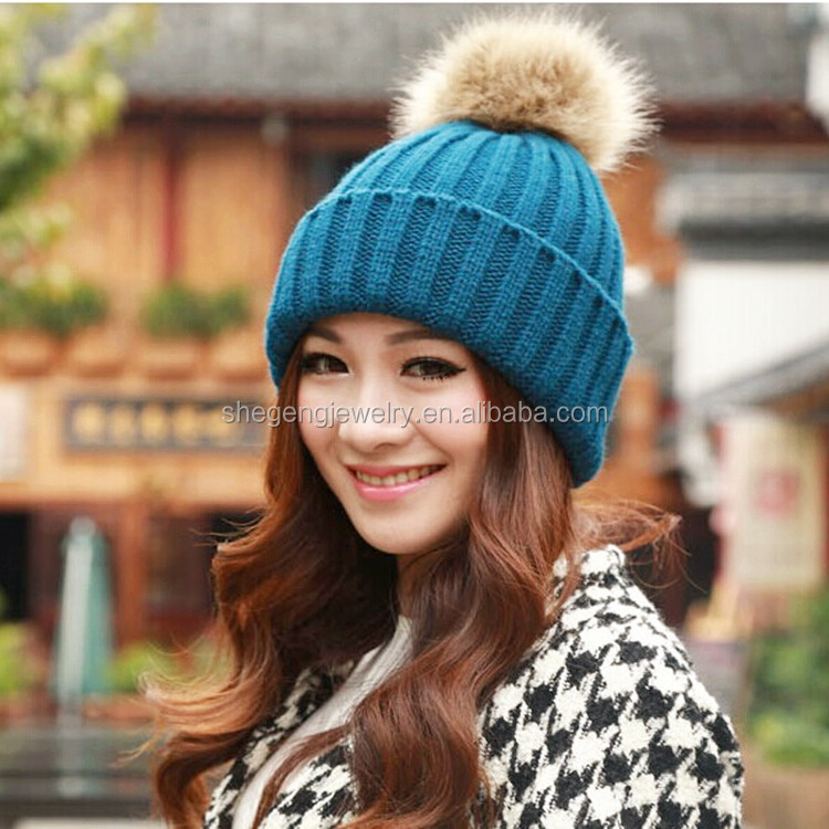 Korean Women Winter Knit Caps Warm Oversized Cuffed Beanie Crochet Ski Hats 6d898e6cfa4