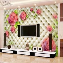 TV backdrop 3D stereoscopic soft bag roses seamless living room background wallpaper hotel murals