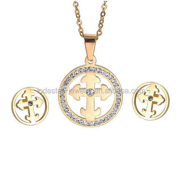 2016 best selling gold plated stainless steel cross jewelry sets accessory elegant fashion crossing jewelry LS6230-1