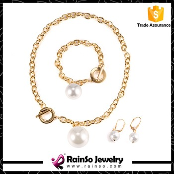 One Big White Pearl Pendant Necklace with Gold Chains for Women
