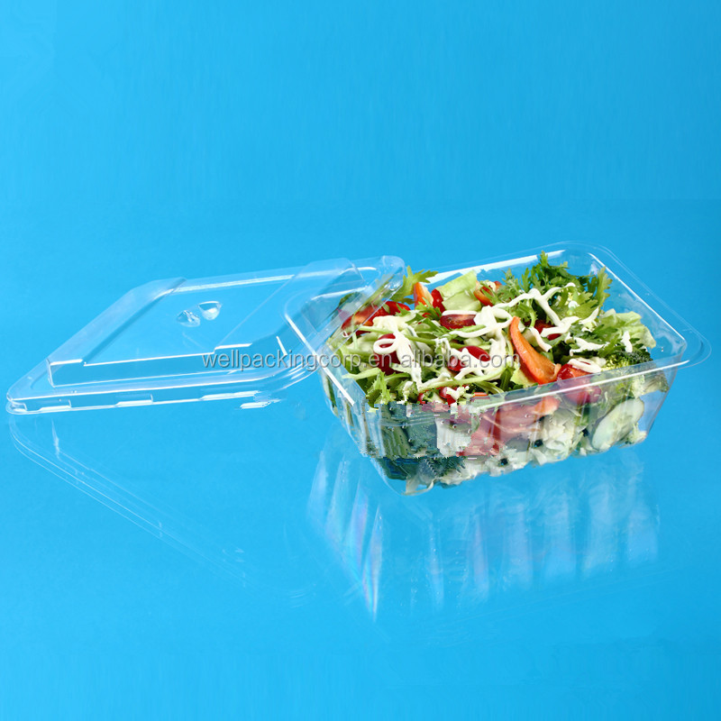 Wholesale Disposable Plastic Clamshell Salad Packing Container with Clear Lid