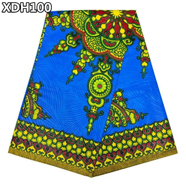 High Quality African real printed wax.100% Cotton Printed African Wax Fabric 6 yards XDH100