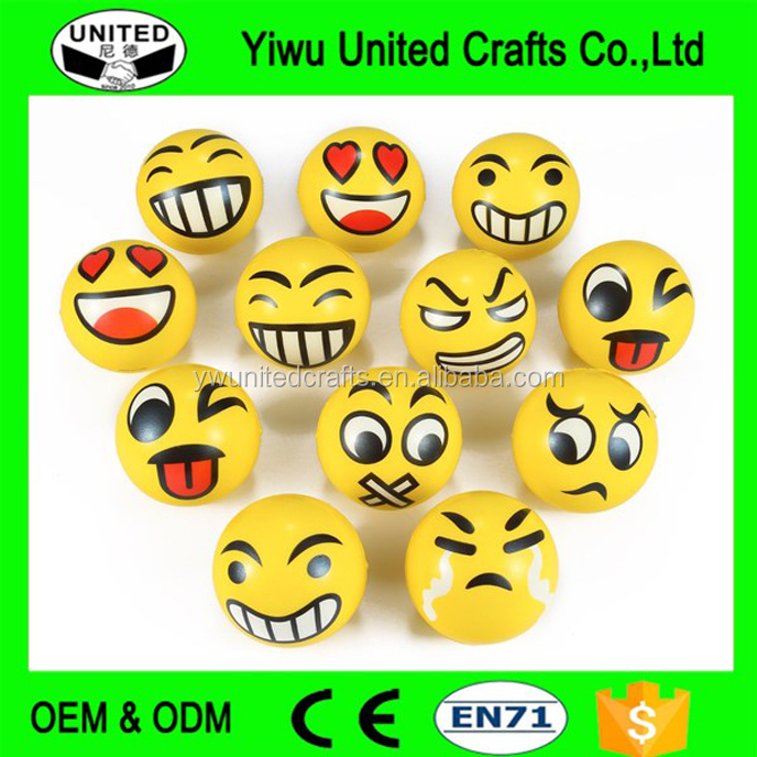 Yellow Smiley Face PU Stress Ball