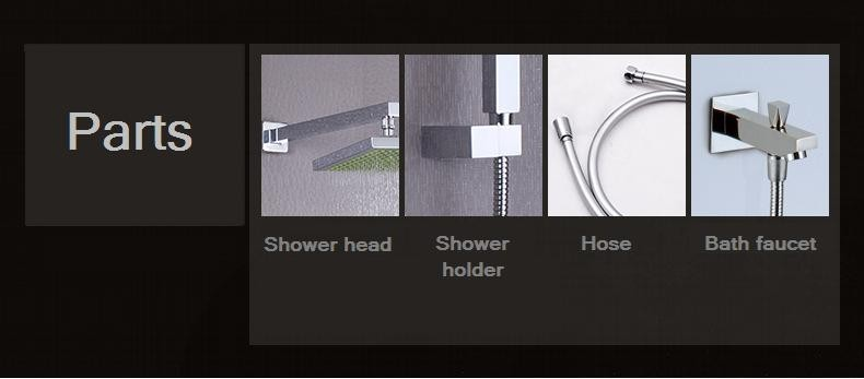 wall mounted bath hidden rain shower set