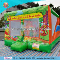 new cartoon themed inflatable bouncer combo, themed bouncer house with slie