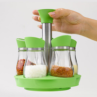 Wholesale kitchenware glass condiment and cruet container 5 in 1glass jar airtight lid with rack sets