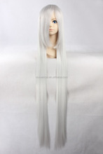 Hot sale high temperature fiber 120cm silver grey long straight hair cosplay wig