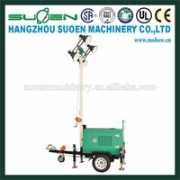 Trailer type mobile light tower 9m diesel generator set 5.5KW