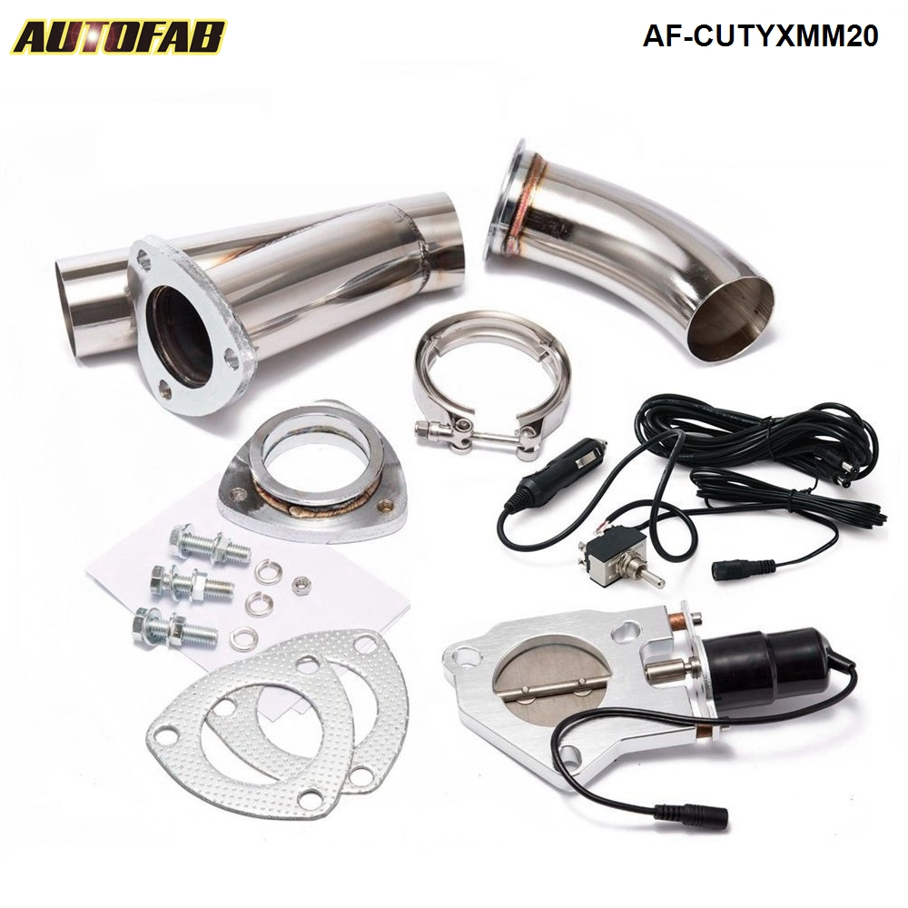 "AUTOFAB - 2"" ELECTRIC EXHAUST CATBACK/DOWNPIPE CUTOUT/E-CUT OUT VALVE SYSTEM KIT W/<strong>O</strong> REMOTE AF-CUTYXMM20"