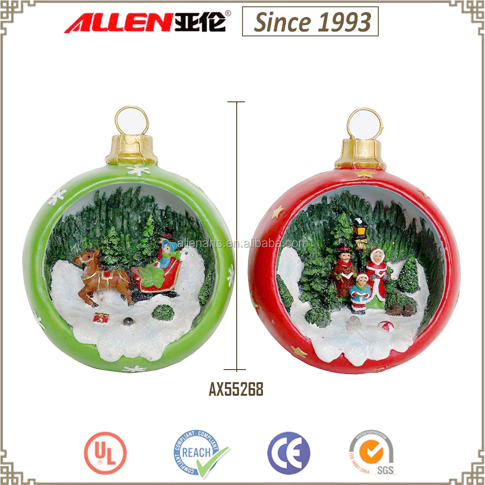 "4.7"" giant christmas ball with led light, poly resin christmas ball with mini Christmas scene"