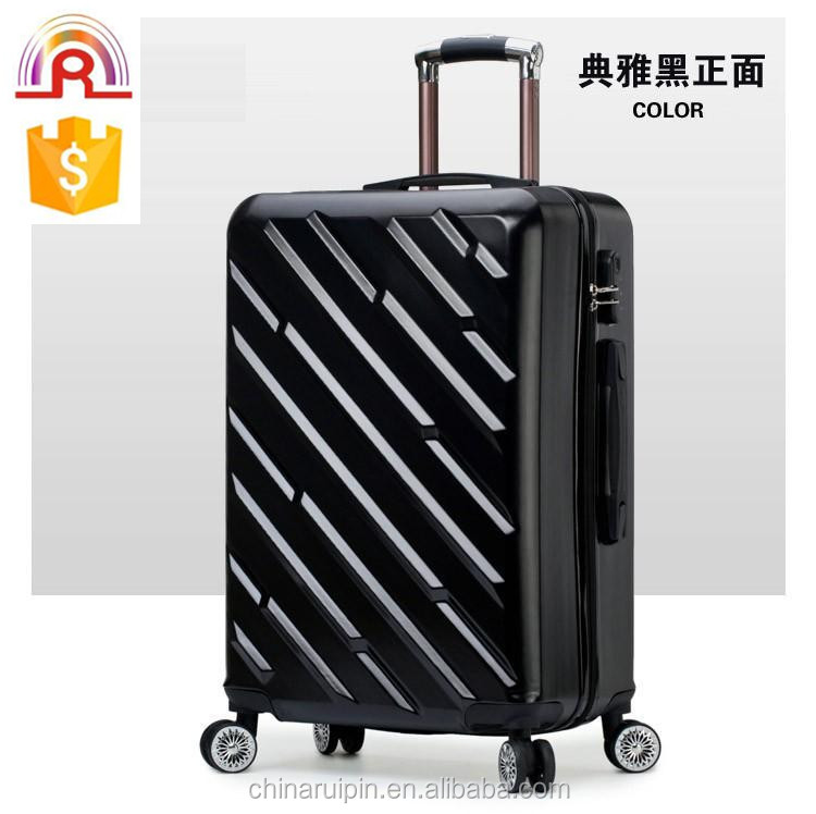 "Black diagonal stripes shape Telescopic Aluminum Trolley luggage sets 20"" 24"" 28"""