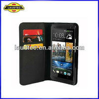 2013 Hot Selling Wallet leather case for HTC One M7,Leather Wallet Case Cover for HTC One Laudtec