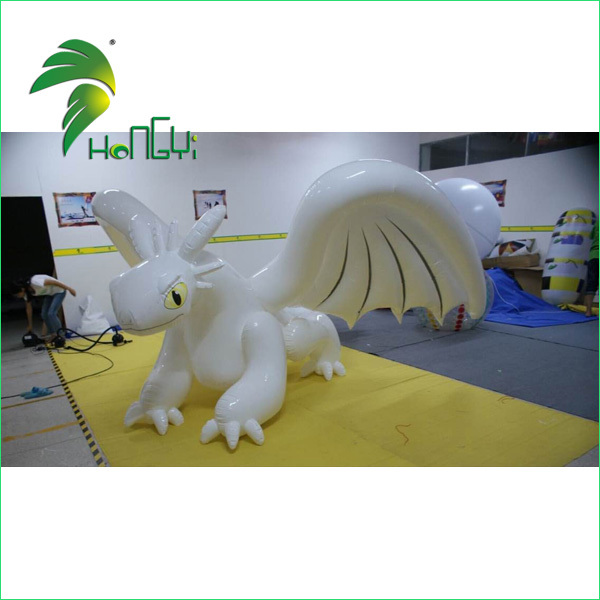 Customize White PVC Dragon Animal Cartoon Toys , Inflatable Toothless Dragon For Sale