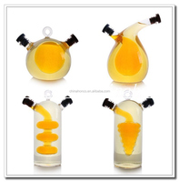 factory directly sell Oil and Vinegar glass cruet,2 in 1 glass oil bottle