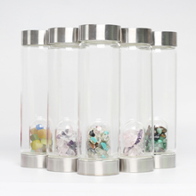 quartz oem crystal gravel stone water bottle gem pod gem natural tumbled stone healing crystal unique water bottle with gemstone