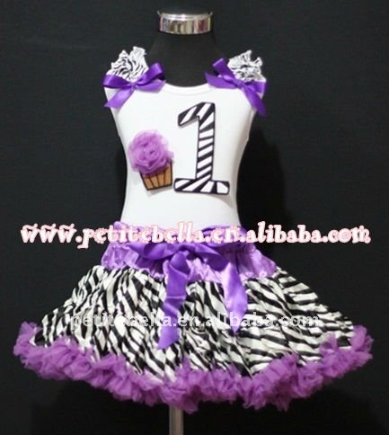 1st Birthday White Top with Black Zebra number & Dark Purple Rosette cake & Ribbon, Dark Purple Ruffle Zebra Pettiskirt MAMM70