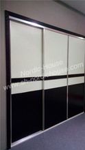 Modern sliding mirrored wardrobes, black and white, glass sliding door wardrobe