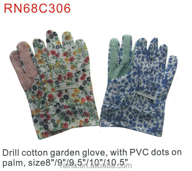 new style drill cotton garden glove with pvc dots on palm