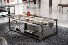 Foshan furniture stainless steel frame tempered glass tea table design CT028