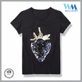 New Fashion sequins round neck popular 100% ctn black tee