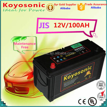 Newest 12v 100AH Sealed MF Lead Acid Car Batteries VRLA AGM JIS Japan Standard Automobile battery with Reliable Quality