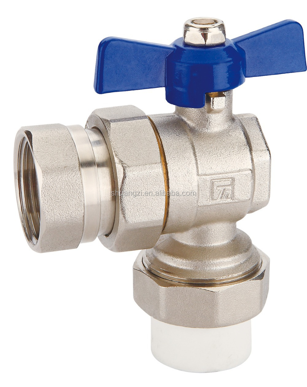 T419 angle type ball valve with female union and ppr end for heat fusion,body forging with nickel plated