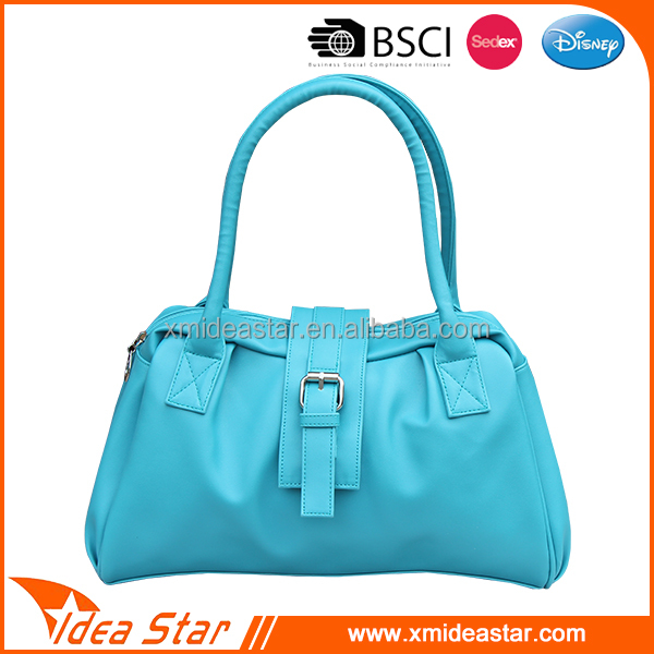 Custom new lady tote bag blue pu leather fashion bags woman handbag