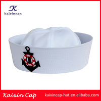 wholesale custom made high quality cheap applique logo white sailor captain hat