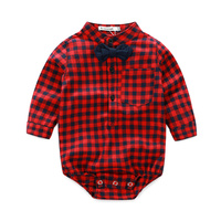 Brand newborn baby romper organic cotton plaid boys clothes