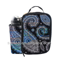 national fashion amoeba printing 600D polyester lunch box with water pouch water bottle free