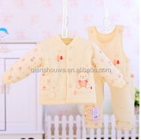 100% washable organic cotton Warm quilted fashion wholesale baby clothes baby Clothing Sets
