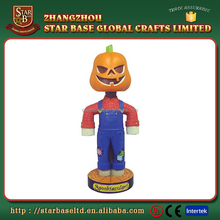Custom cartoon pumpkin head funny figurine cheap polyresin bobble head